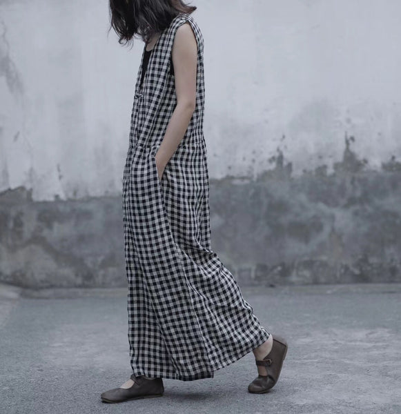 Lattice jumpsuit Loose linen wide leg pants