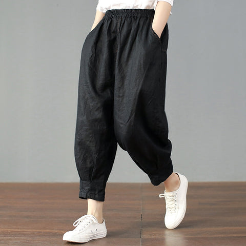 Leon pure color casual linen cropped pants