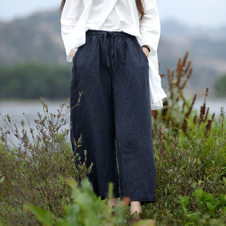 Linen loose wide leg pants
