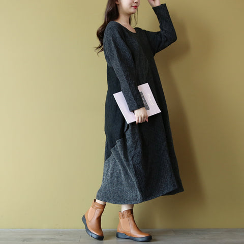 Ling maxi winter knit retro dress