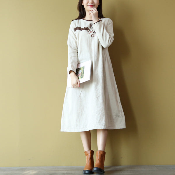 Lira cotton loose embroidered dress