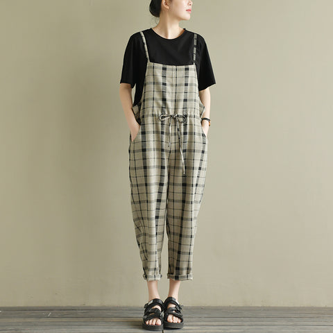 Lydia Loose Art Vintage Jumpsuit Plaid Linen Overalls