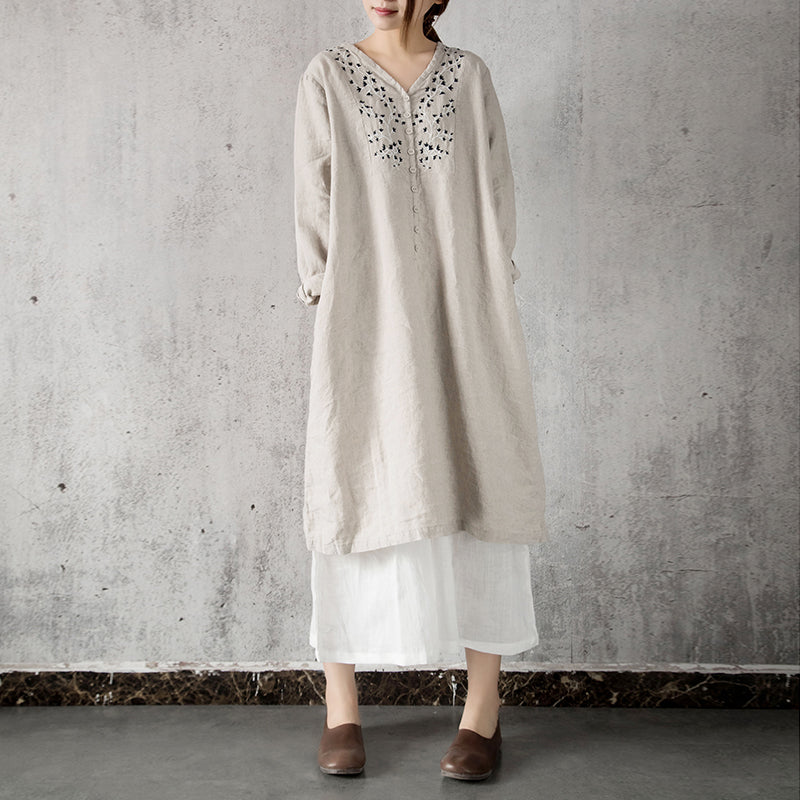 Marian V-neck embroidered long-sleeved linen dress