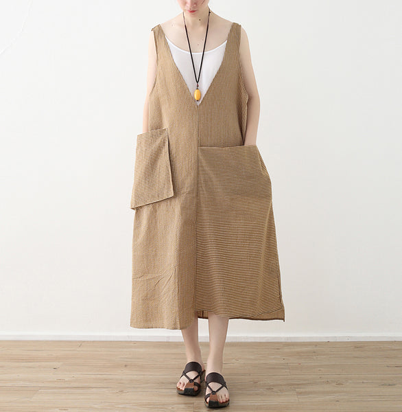 Moon V-neck pocket linen tunics dress