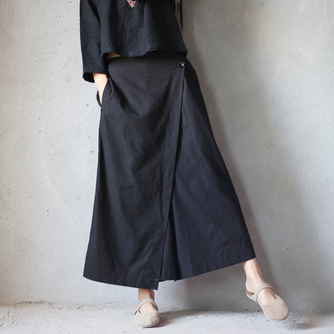 Ong black linen wide leg pants