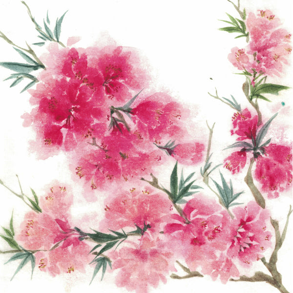 Peach blossom flowering ink painting