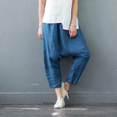 Pure Linen Retro Harlan Cropped Pants