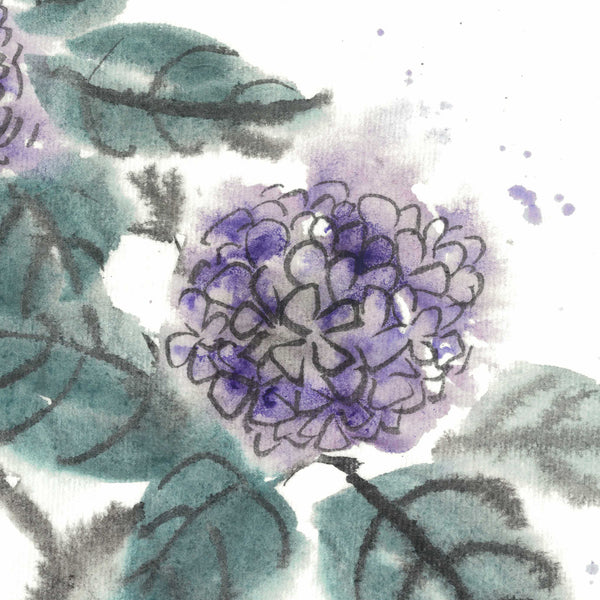 Purple Hydrangea water ink painting