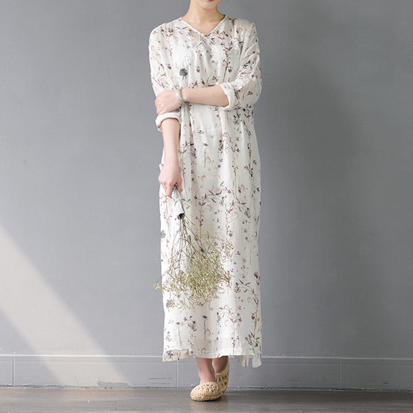 Floral ramie plate buckle loose dress