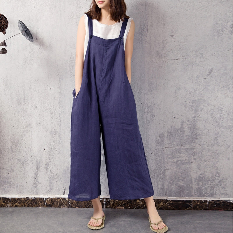 Retro zen linen bib pants loose cropped overalls