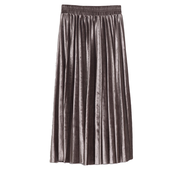 Rose metallic velvet pleated midi skirt