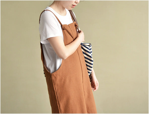 linen cotton cropped overall