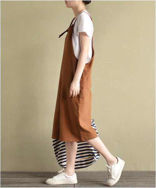 Sandy texture linen cotton cropped overall