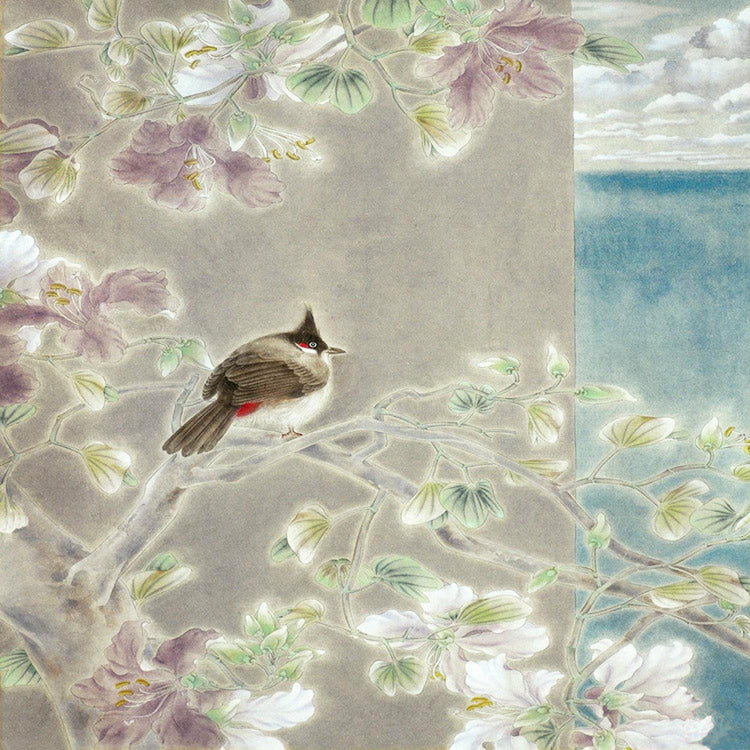 Sea of hope Chinese flower hanging painting Micro-spray print