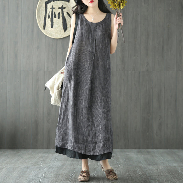 Stella summer long striped onepiece sleeveless linen dress