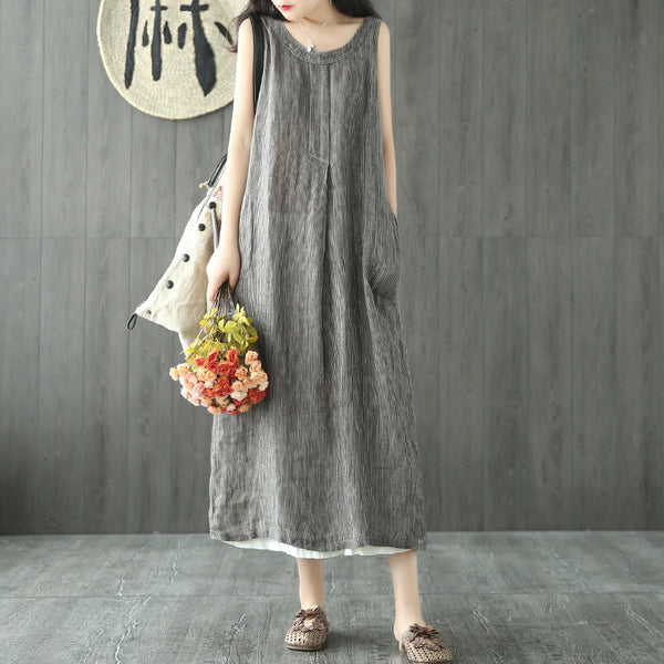 Stella summer long striped one piece sleeveless linen dress