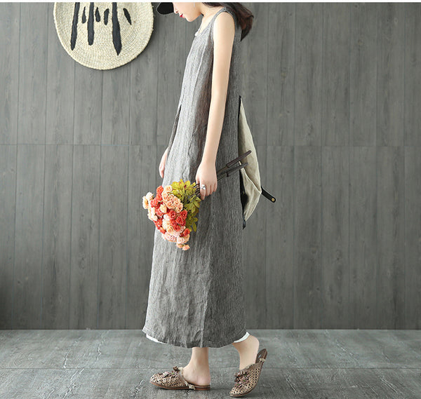 Summer long striped onepiece sleeveless linen dress