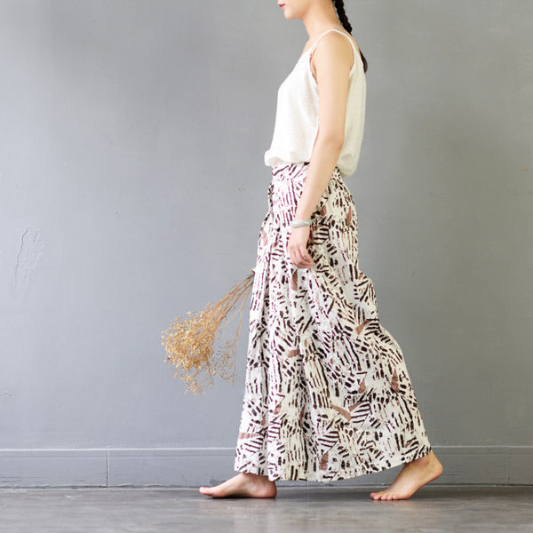 Summer Silk linen comfortable printing wide leg pants