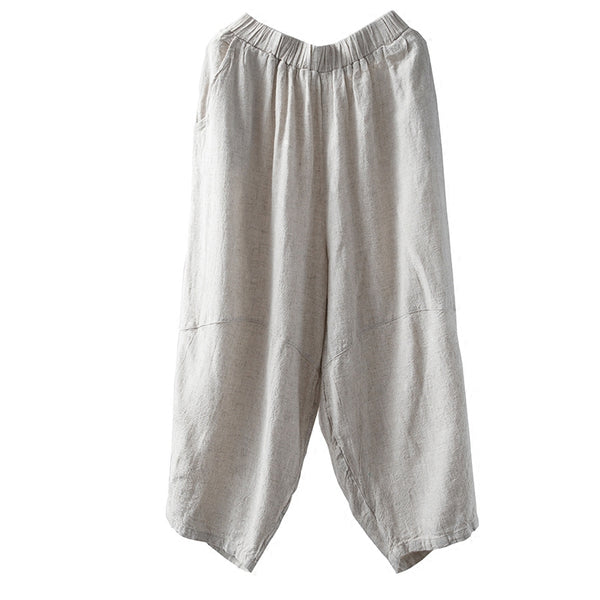 Summer linen seven cuff bloom pants loose casual pants