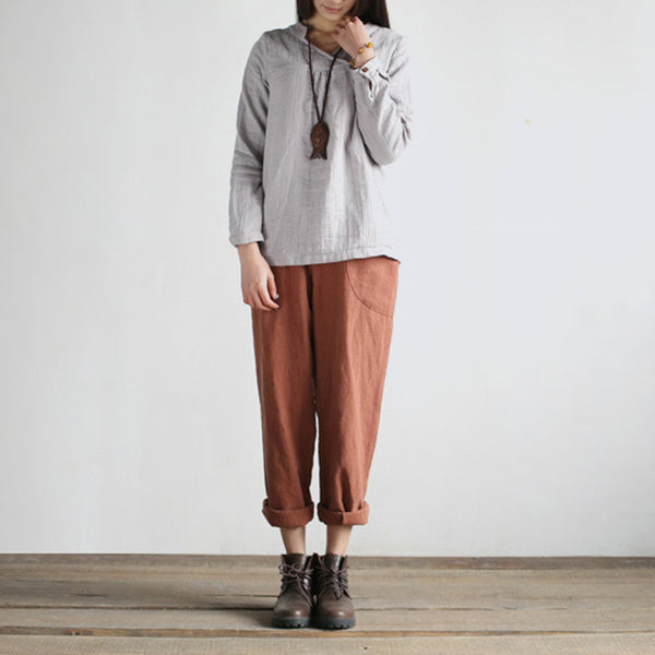 Cranberries linen cotton casual slouchy turnip pants