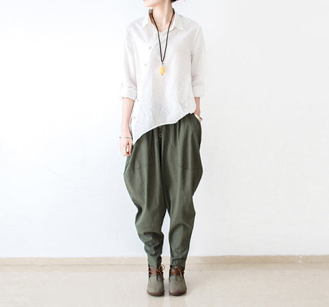 Linen pants loose harlan wide-legged pant