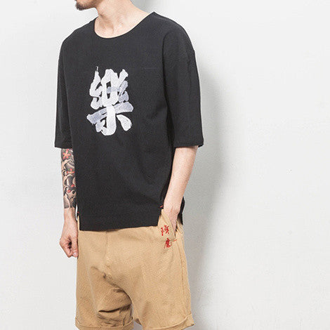 Men's summer T-shirt linen Zen medals
