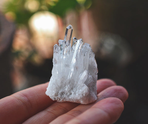 Natural white crystal cluster column
