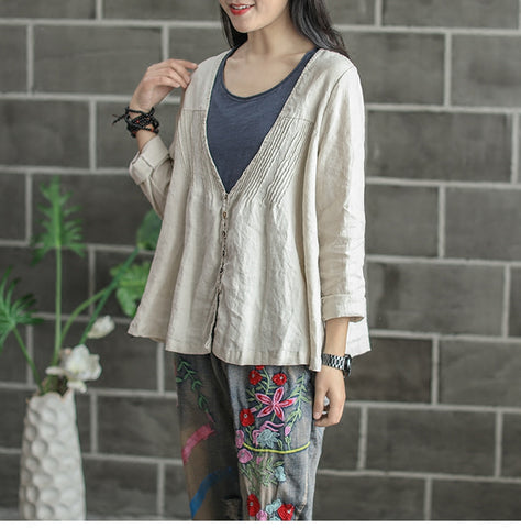 Teresa retro literary folds cardigan short cotton shirt