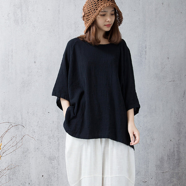 raglan sleeves  black linen top
