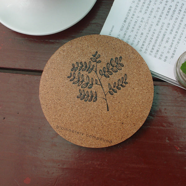 Todd Cork Coaster Cup Mat Leaves Coffee Set