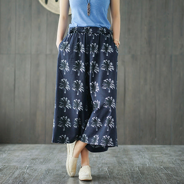 Tropical indigo blue cotton print linen wide leg pants