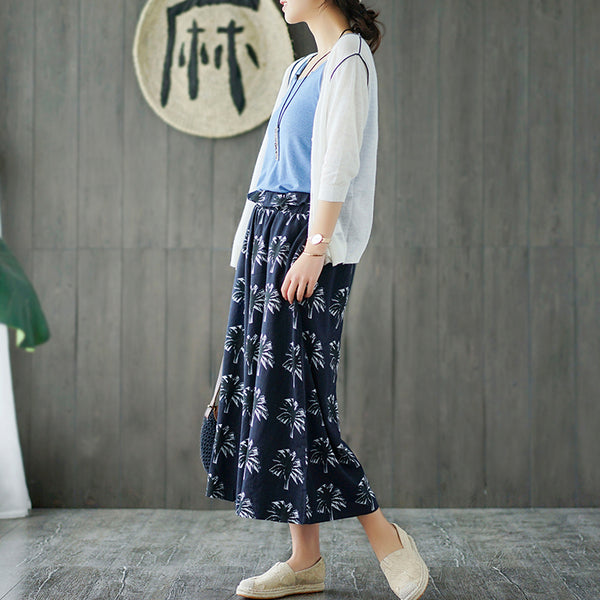indigo blue cotton print linen wide leg pants