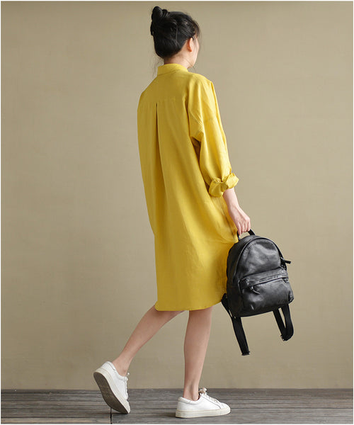 Yellow casual linen high-low shirt dress
