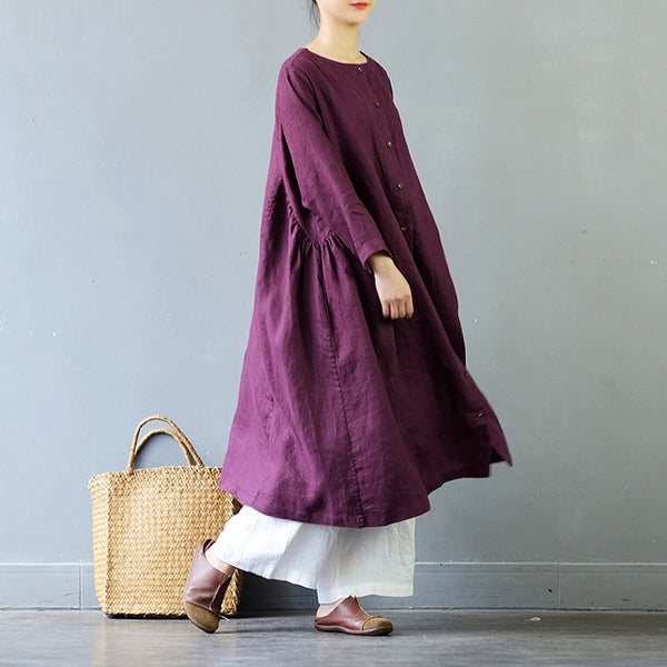 Zenly Loose linen dress double sides wear round robe