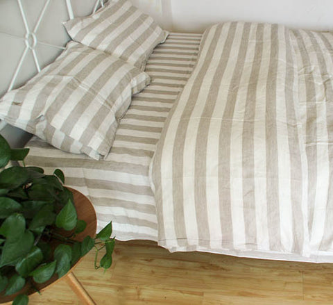 Linen striped sheet pillowcase set