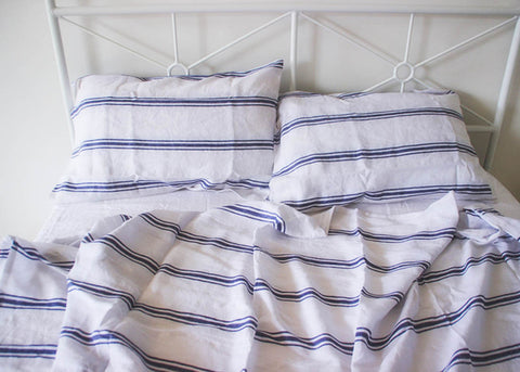 linen stripe pillowcase sheet set
