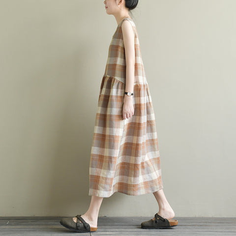 blaney loose V-neck linen plaid sleeveless a-line dress
