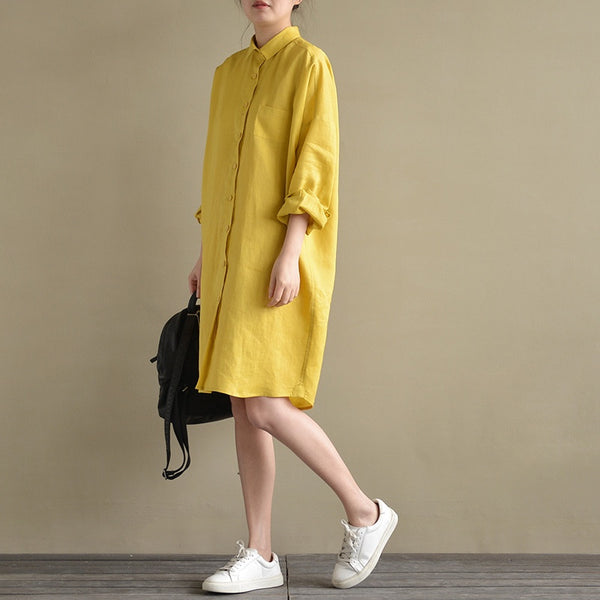 Yellow casual long shirt dress