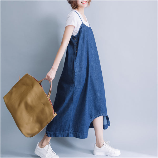 Lee denim cotton dual use harem overall strap dress