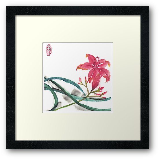 Pink lily ink painting