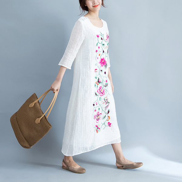 linen embroidered robe floral dress