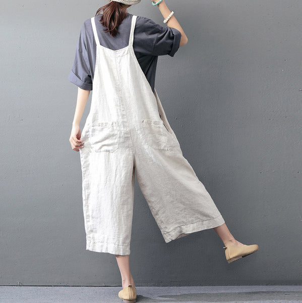 Woody comfortable wide leg linen overall