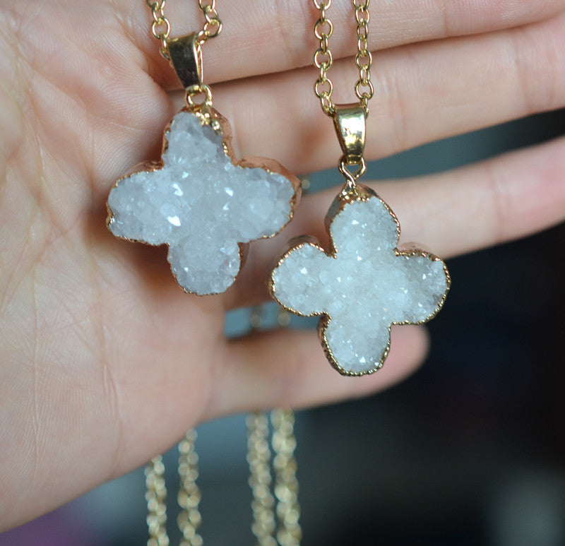 natural crystal  stone necklace