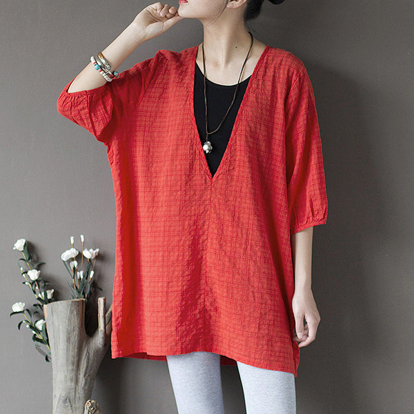 Fannie v-neck top cropped Lantern sleeves blouse