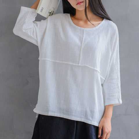 stitching linen cotton cropped top