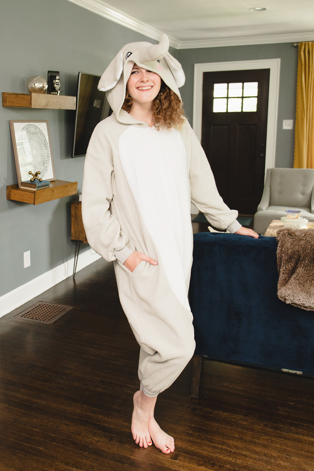 Adult Onesie - Elephant - Gray