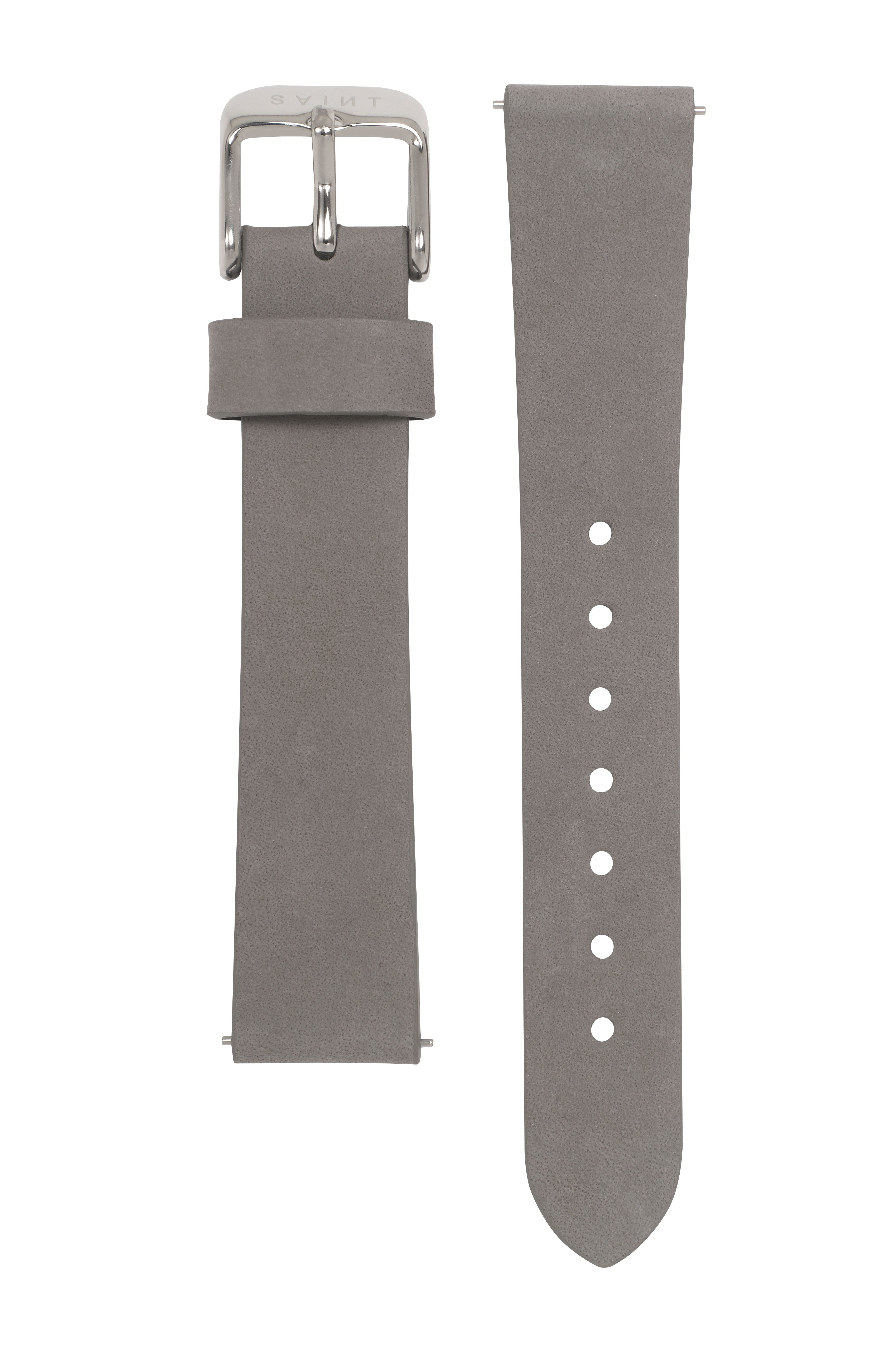 Heather Grey Leather Strap - 16mm