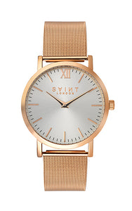 Chelsea Rose Gold, Silver Sunray Dial
