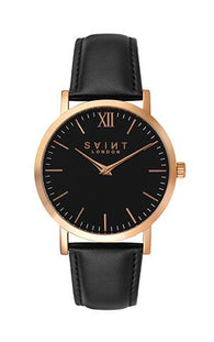 Fitzrovia Rose Gold, Black Leather