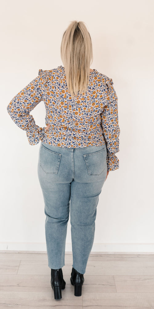 Frances top - blue floral
